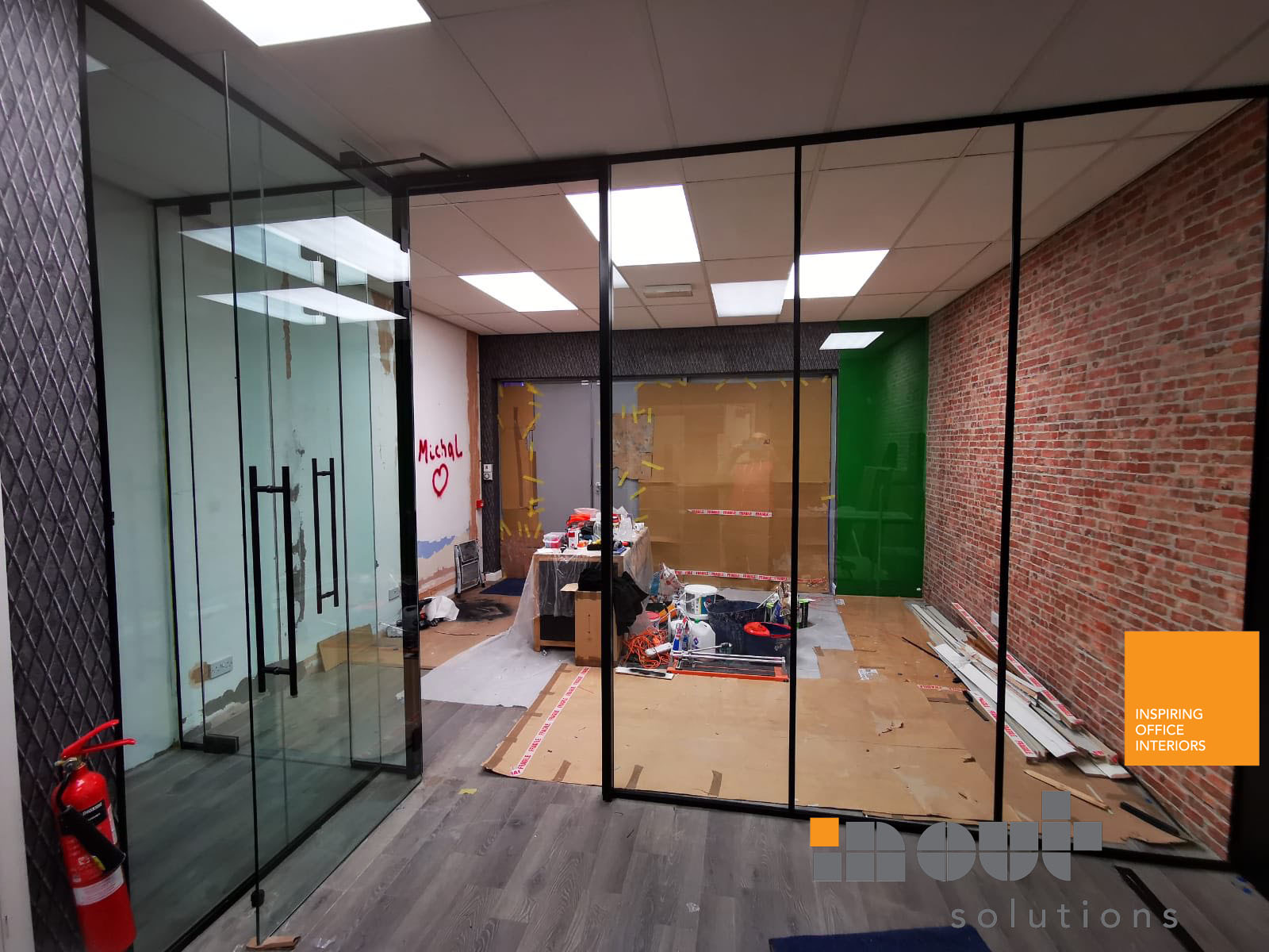 Glass partition glass walls glass doors glazed office partitions art deco glass walls Leicester Leicestershire industrial glass walls industrial glass partitions