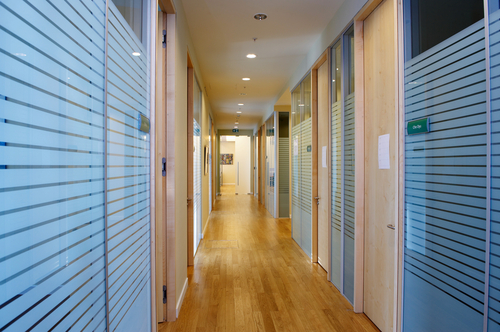 Frameless Glass Partitions Combine with Timber Frame and Door