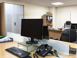 COVID Glass Office Desk Table Screens Protective Dividers Dubbed Radius Edges