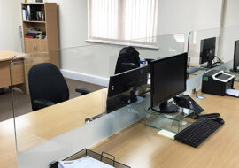 Glass Office Desk Table Screens Protective Dividers Protective Desk Screen Dividers. Office Desk Screens. Desktop Protective Screens. Supporting workplaces with our protective glass desk screens UK Nationwide