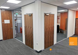 office partitions Worcester double glazed walls acoustic sound reduction frameless 2