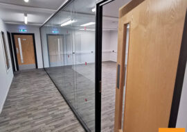 Glass partitions, double glass walls, double glass partition, double glazed office partitioning UK
